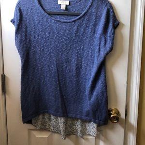 Ann Taylor Loft woven cotton top w/printed back